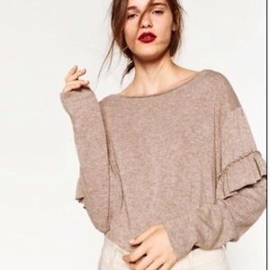 Zara Collection ruffle slv off shoulder sweater M
